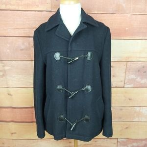 Vintage pea coat toggle with leather winter coat